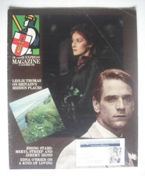 Sunday Express magazine - 11 October 1981 - Meryl Streep and Jeremy Irons cover