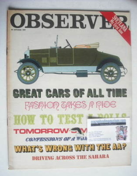 <!--1967-10-22-->The Observer magazine - Motoring cover (22 October 1967)