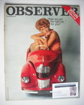 The Observer magazine - The Right Car For You cover (15 October 1967)
