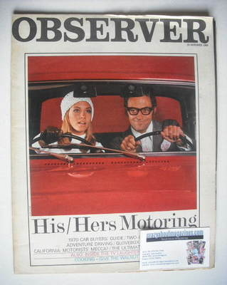 <!--1969-10-12-->The Observer magazine - His/Hers Motoring cover (12 Octobe
