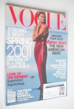 US Vogue magazine - January 2001 - Marion Jones cover