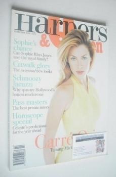 British Harpers & Queen magazine - February 1996 - Carre Otis cover