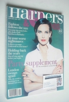 British Harpers & Queen magazine - January 1996 - Carole Bouquet cover