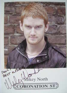 Mikey North autograph (Coronation Street actor)