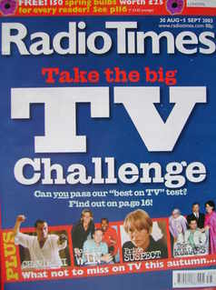 <!--2003-08-30-->Radio Times magazine - Take The Big TV Challenge cover (30