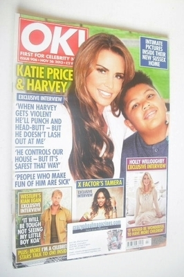 <!--2013-11-26-->OK! magazine - Katie Price and Harvey cover (26 November 2