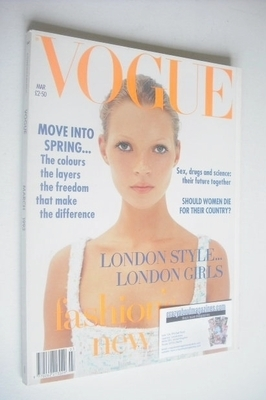 <!--1993-03-->British Vogue magazine - March 1993 - Kate Moss cover