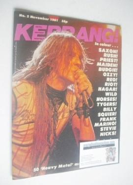 <!--1981-11-->Kerrang magazine - Biff Byford cover (November 1981 - Issue 5