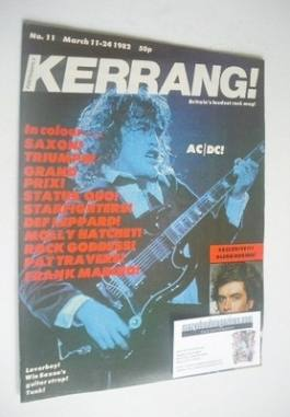 <!--1982-03-11-->Kerrang magazine - Angus Young cover (11-24 March 1982 - I