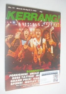 <!--1982-03-25-->Kerrang magazine - Scorpions cover (25 March - 7 April 198