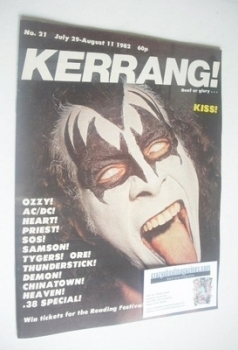 Kerrang magazine - Kiss cover (29 July - 11 August 1982 - Issue 21)
