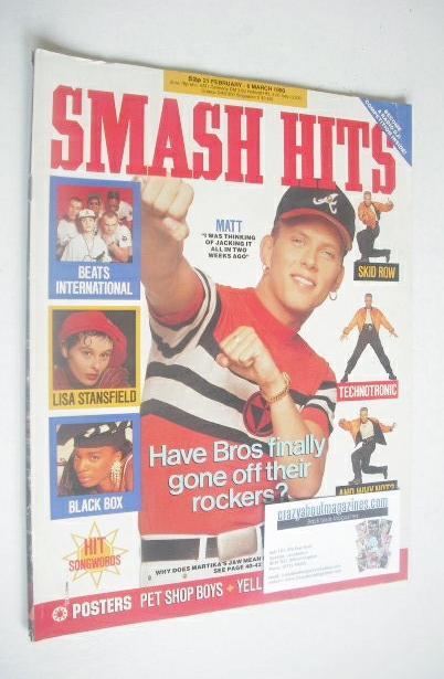 <!--1990-02-21-->Smash Hits magazine - Matt Goss cover (21 February-6 March
