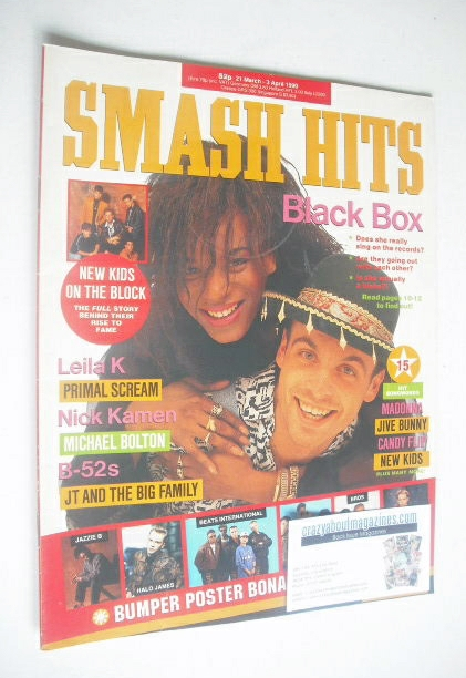 <!--1990-03-21-->Smash Hits magazine - Black Box cover (21 March-3 April 19