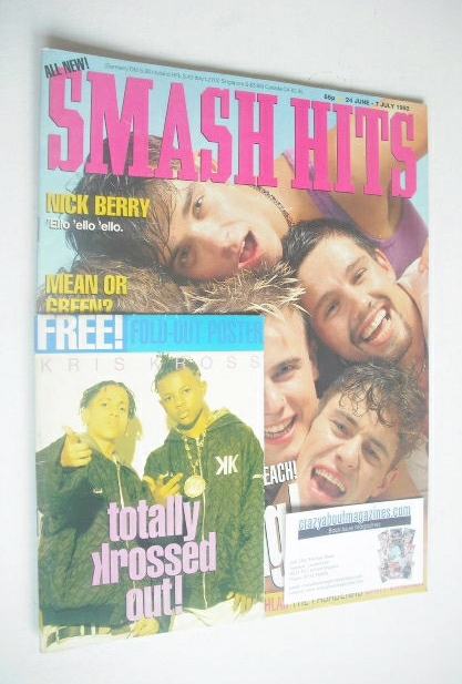 <!--1992-06-24-->Smash Hits magazine - Take That cover (24 June - 7 July 19