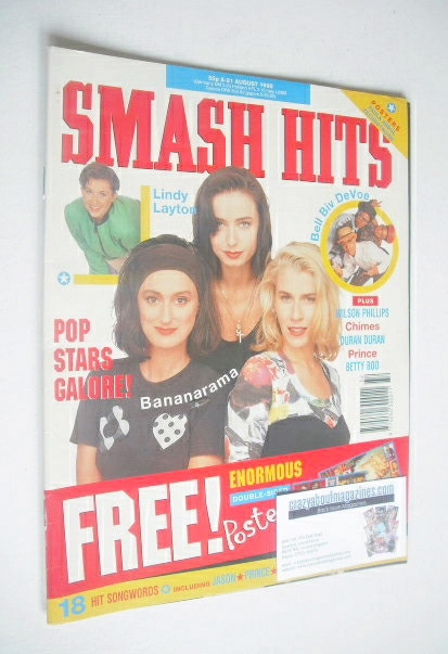 <!--1990-08-08-->Smash Hits magazine - Bananarama cover (8-21 August 1990)