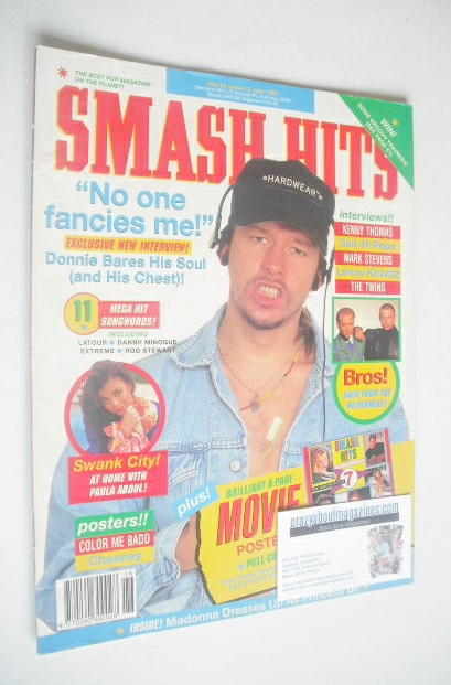 <!--1991-06-26-->Smash Hits magazine - Donnie Wahlberg cover (26 June - 9 J