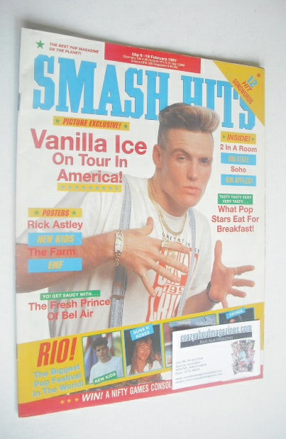 <!--1991-02-06-->Smash Hits magazine - Vanilla Ice cover (6-19 February 199