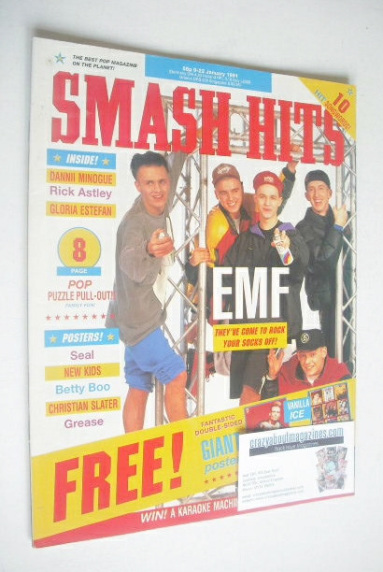 <!--1991-01-09-->Smash Hits magazine - EMF cover (9-22 January 1991)