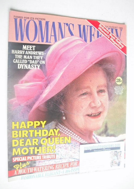 <!--1985-08-03-->Woman's Weekly magazine (3 August 1985 - Queen Mother cove