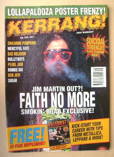 <!--1993-07-17-->Kerrang magazine - Jim Martin cover (17 July 1993 - Issue