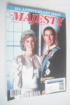 Majesty magazine - Prince Charles and Princess Diana cover (May 1985 - Volume 6 No 1)
