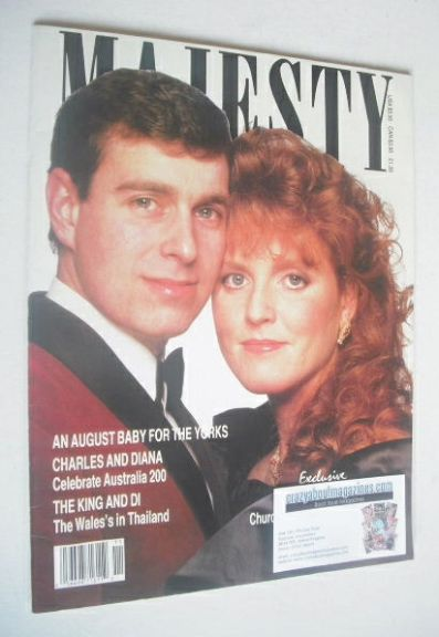 <!--1988-03-->Majesty magazine - Prince Andrew and Sarah Ferguson cover (Ma