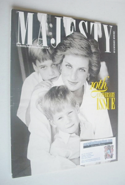 <!--1990-05-->Majesty magazine - Princess Diana and boys cover (May 1990 -