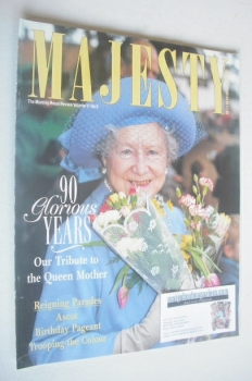 Majesty magazine - The Queen Mother cover (August 1990 - Volume 11 No 8)