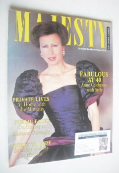 Majesty magazine - Princess Anne cover (September 1990 - Volume 11 No 9)