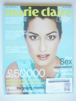British Marie Claire magazine - July 1996 - Yasmeen Ghauri cover