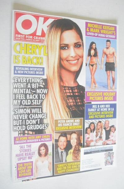 <!--2014-03-25-->OK! magazine - Cheryl Cole cover (25 March 2014 - Issue 92