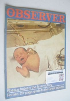 The Observer magazine - Rhesus Babies cover (2 April 1967)