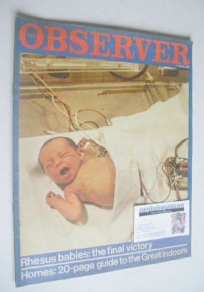 <!--1967-04-02-->The Observer magazine - Rhesus Babies cover (2 April 1967)