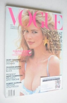 US Vogue magazine - May 1992 - Claudia Schiffer cover