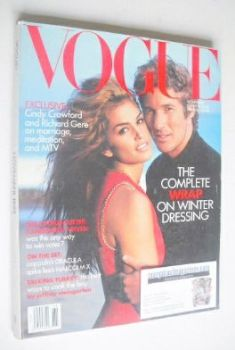 US Vogue magazine - November 1992 - Cindy Crawford and Richard Gere cover