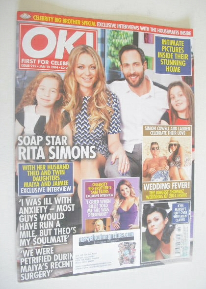 <!--2014-01-14-->OK! magazine - Rita Simons and family cover (14 January 20