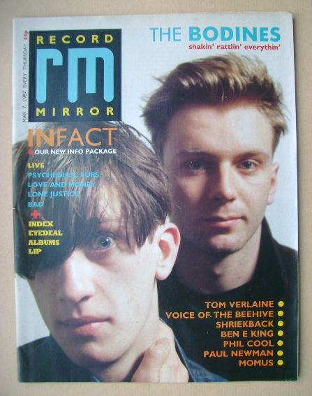<!--1987-03-07-->Record Mirror magazine - The Bodines cover (7 March 1987)