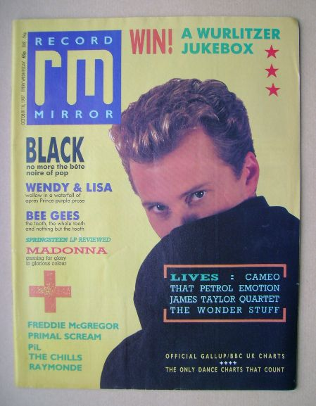 <!--1987-10-10-->Record Mirror magazine - Colin Vearncombe cover (10 Octobe