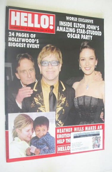 <!--2001-04-10-->Hello! magazine - Elton John, Michael Douglas and Catherin
