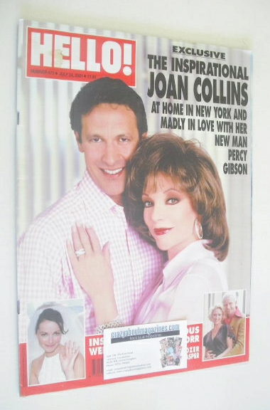 <!--2001-07-24-->Hello! magazine - Joan Collins and Percy Gibson cover (24