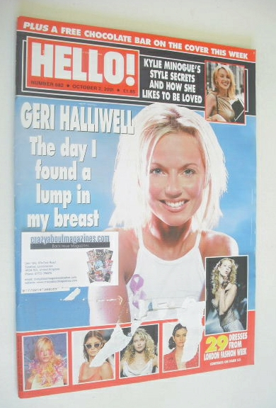 <!--2001-10-02-->Hello! magazine - Geri Halliwell cover (2 October 2001 - I