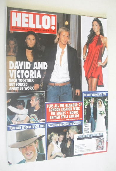 <!--2003-10-07-->Hello! magazine - David Beckham and Victoria Beckham cover
