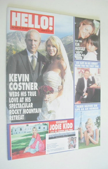 <!--2004-10-12-->Hello! magazine - Kevin Costner wedding cover (12 October