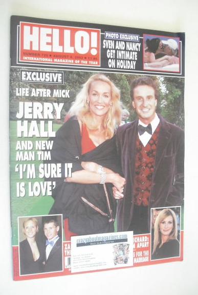 <!--2002-08-06-->Hello! magazine - Jerry Hall and Tim Attias cover (6 Augus