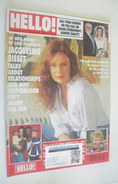 <!--1993-03-27-->Hello! magazine - Jacqueline Bisset cover (27 March 1993 -