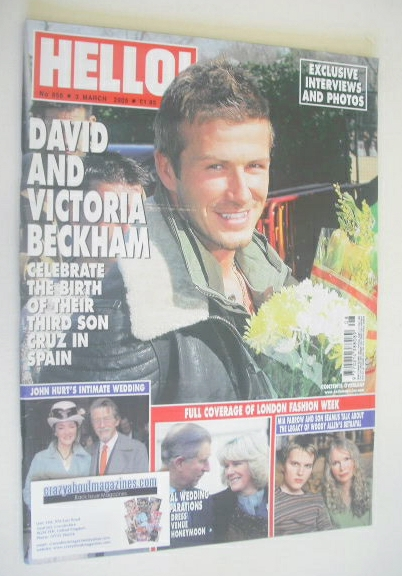 <!--2005-03-03-->Hello! magazine - David Beckham cover (3 March 2005 - Issu