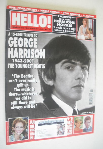 <!--2001-12-11-->Hello! magazine - George Harrison cover (11 December 2001