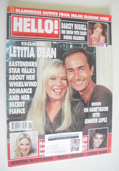 <!--2001-10-16-->Hello! magazine - Letitia Dean cover (16 October 2001 - Is