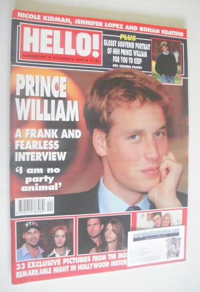 <!--2001-10-09-->Hello! magazine - Prince William cover (9 October 2001 - I