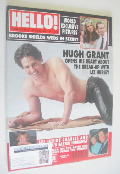 <!--2001-04-24-->Hello! magazine - Hugh Grant cover (24 April 2001 - Issue